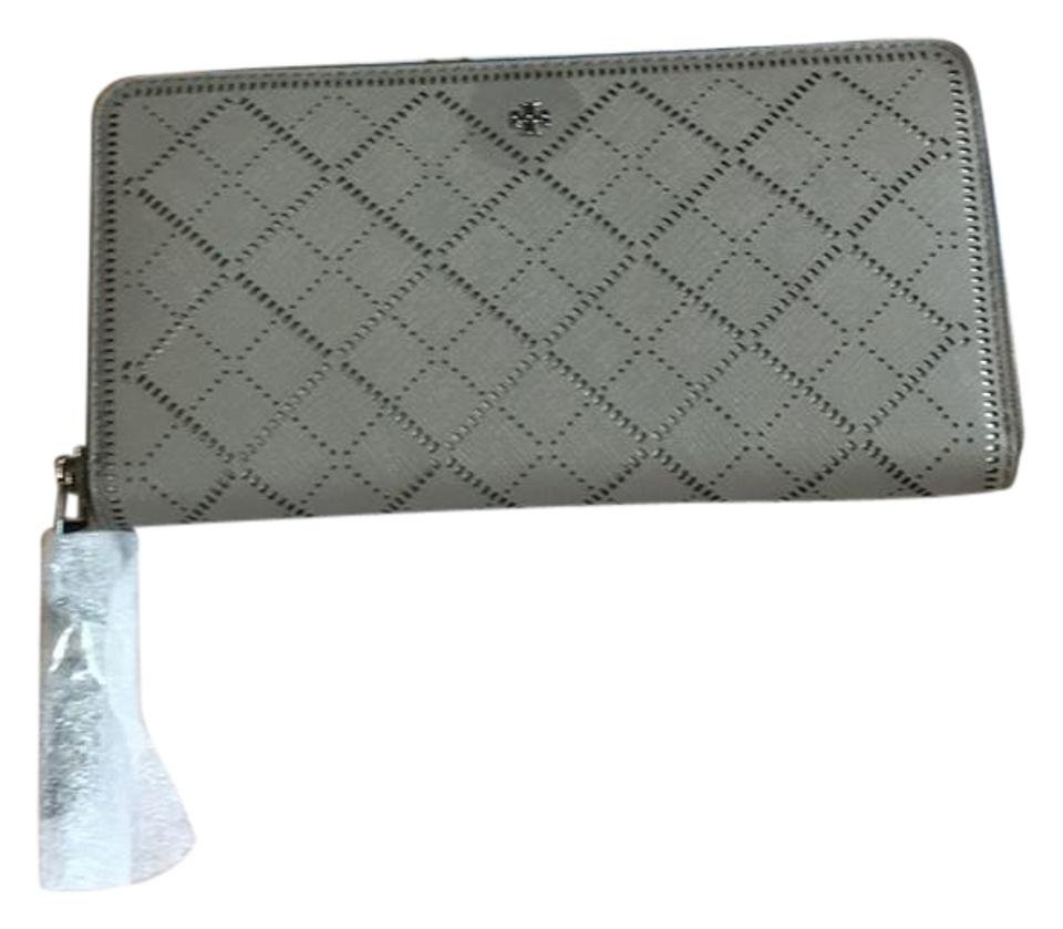 a61f43e37c60 Tory Burch French Gray  Ivory Robinson Perforated Wallet - Tradesy