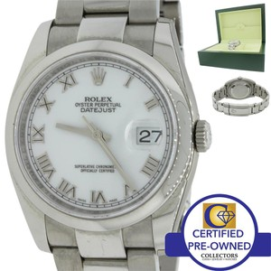 Rolex Rolex DateJust White Roman 116200 Steel Oyster Engraved Z Watch