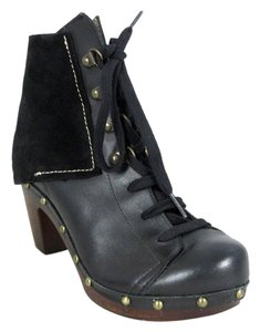 Cordani Leather Suede Ankle Clogs Black Boots