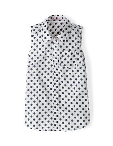 Boden Cotton Sleeveless Button Down Shirt Navy Polka Dot