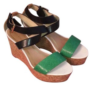 Juicy Couture Black, white, green, caramel Wedges