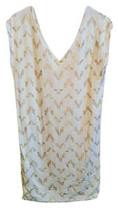 Rachel Roy short dress Off White/Gold Gold Textured Print Shift on Tradesy