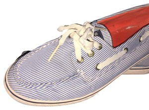 Sperry Blue and White Striped Flats