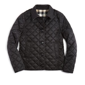 Burberry Ashurst Quilted Button-Front Jacket, Black, Kid Size 14 Jacket