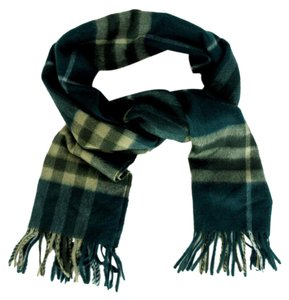 Burberry Plaid Check Scarf Fringed 100% Cashmere Hunter Green Black Red