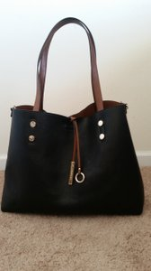 Calvin Klein Reversible Leather Tote in Brown and Black