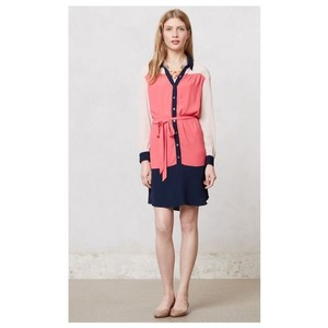 Maeve short dress Navy/Pink Colorblock Pink Navy Color-blocking on Tradesy