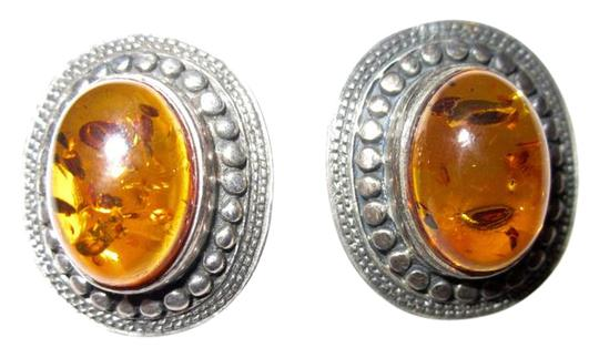 Other Amber Sterling Silver Earrings Vintage Image 0