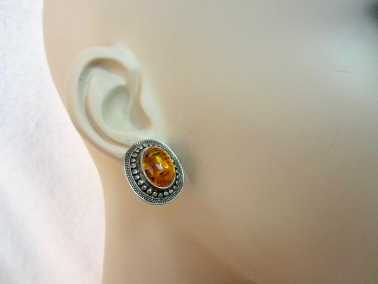Other Amber Sterling Silver Earrings Vintage Image 1