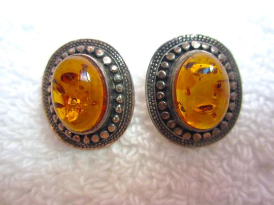Other Amber Sterling Silver Earrings Vintage Image 2