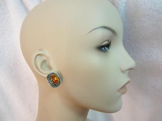 Other Amber Sterling Silver Earrings Vintage Image 4