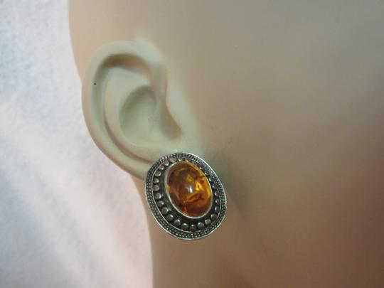 Other Amber Sterling Silver Earrings Vintage Image 7