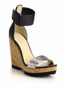 Jimmy Choo Black & Silver Wedges