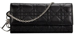 Dior authentic DIOR LADY CANNAGE Wallet on Chain WOC Flap Black Leather