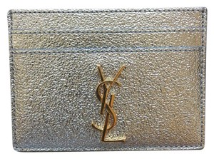 Saint Laurent Brand New YSL Card Case in Silver