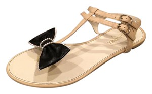 Chanel Cc Pearl Thong Bow Beige/Black Sandals