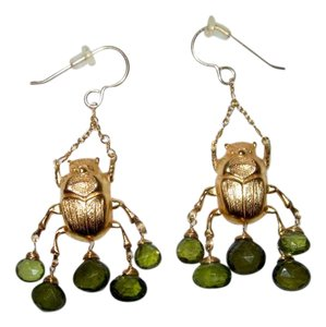 Other Egyptian Revival Scarab Chandelier Earrings Peridot Gold Tone or Plate