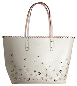 Coach Floral Applique New Tote in Off White