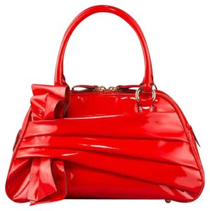 Valentino Patent Leather Bow Satchel in red