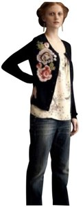 Anthropologie Embroidered Floral Navy Cardigan