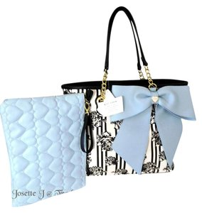 Betsey Johnson Pouch Bow Tote in black/bone/blue