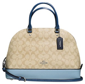 Coach Satchel in SILVER/KHAKI/BLUE MULTI