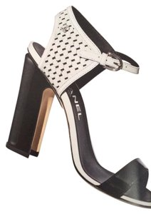 Chanel Bootie Perforated Open Toe Lace Up Black/White Sandals