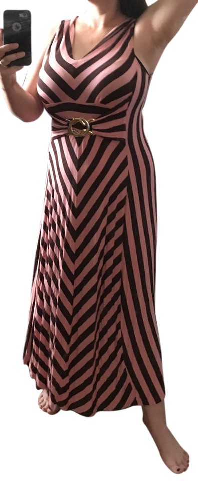 94128a1ff25 Liz Lange Maternity Pink and Dark Brown 77025 Casual Maxi Dress. Size  16 ( XL ...