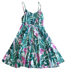 Old Navy short dress Green and Pink Summer Printed Floral on Tradesy