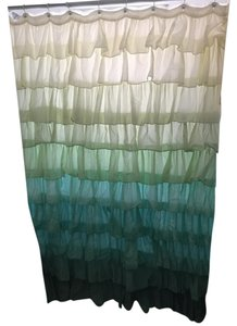 Anthropologie Anthropologie blues greens ruffled shower curtain