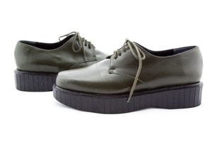 Robert Clergerie Leather Creeper Lace Up Olive Olive/Black Platforms