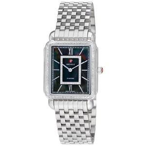 Michele $2000 NWT DECO II DIAMOND BLACK MOP DIAL WATCH MW06X01A1965