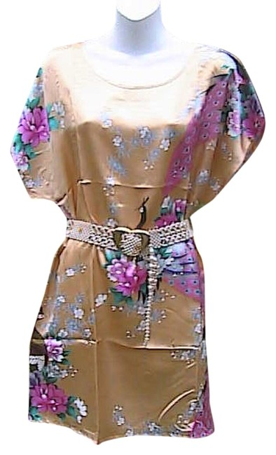 Preload https://item1.tradesy.com/images/gold-floral-peacock-above-knee-short-casual-dress-size-8-m-2094505-0-0.jpg?width=400&height=650