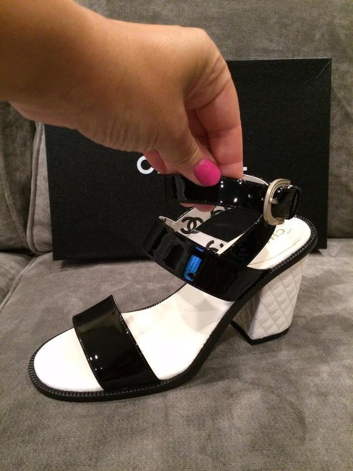 1b729802119b2d Chanel Black White 15s Patent Strappy Quilted Leather 37.5 Sandals ...