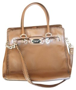 Michael Kors Whipped Leather Hamlton East West Pebbled Satchel in Luggage Brown