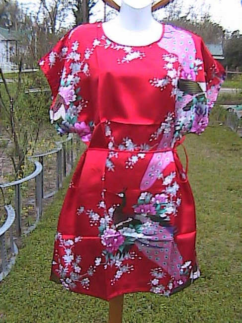 Unknown short dress Red Floral Peacock on Tradesy