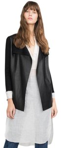 Zara Faux Leather Pointed Hem Leather Jacket