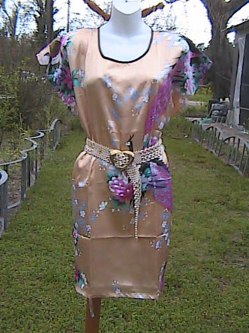 Unknown short dress Gold FLoral Peacock on Tradesy
