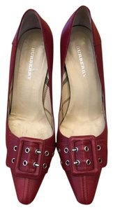 Burberry Made In Italy Wedge Heel Leather Red Pumps