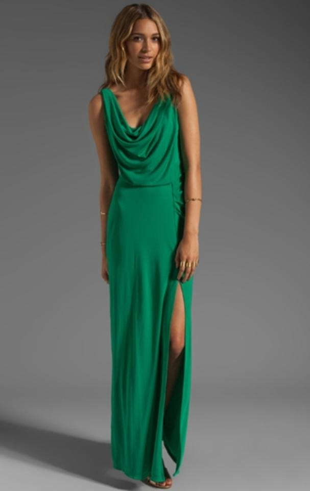 BCBGMAXAZRIA Kelly Green Draped Jersey Gown Long Formal Dress Size 0 ...