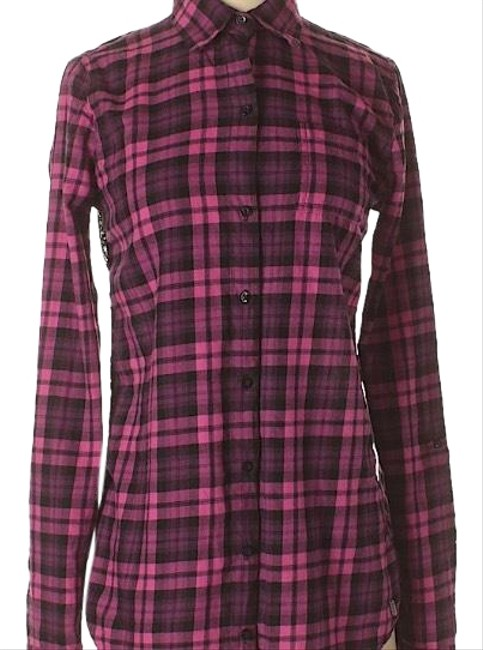 Item - Magenta and Black Perfect For Fall Button-down Top Size 8 (M)