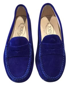 Tod's Gommini Mocassino Designer Loafers Loafers Sapphire Blue Suede Flats