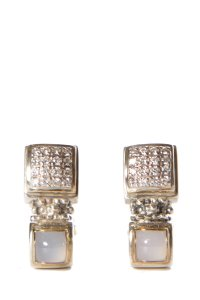 Michael Dawkins Michael Dawkins Silver & Gold Pave Diamond Clip-On Earrings