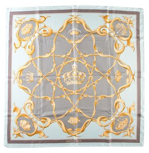 Hermès Hermes Powder Blue Crown Print Motif Scarf