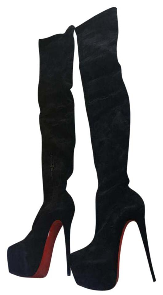 new concept 2ff34 3f36f Christian Louboutin Black Monicarina 160 Veau Velours Over The Knee Suede  Boots/Booties Size US 8 Regular (M, B) 58% off retail