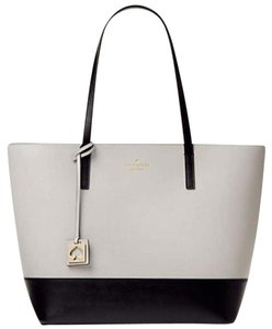 Kate Spade Zip Top Leather Leather Two-tone Tote in Black