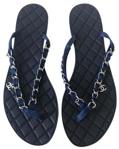 Chanel Flip Flops Flats Chain Cc Blue Sandals