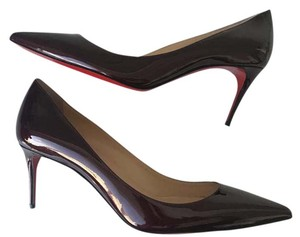 Christian Louboutin Classic Sexy Red Soles Stiletto Louboutin Decollete Burgundy Pumps