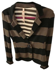 Bailey 44 And Fitted Waist Length Black & Brown stripe Blazer