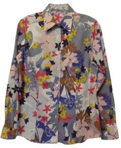 Etro Floral Button Up Medium Top Off-White w/ Yellow, Pink, Purple, Grey +